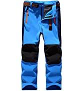 linlon Kids Boys Girls Fleece Lined Waterproof Hiking Pants Outdoor Soft Shell Snow Insulated Car...