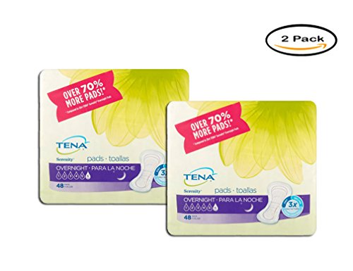(PACK OF 2 - TENA Serenity Overnight Pads, 48 count)