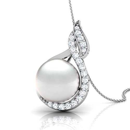 Or jaune 18K 0,22CT TW Round-cut-diamond (IJ | SI) et perle Pendentif