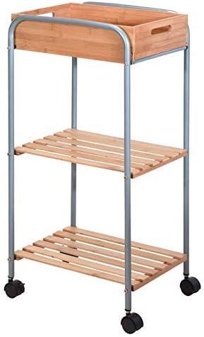 Carrello da Cucina in bamb/ù 81 x 40 x 30 cm Spetebo 3 Ripiani Carrello Multiuso