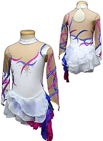 Eiskunstlauf-Kleid F/ür M/ädchen Frauen Eislaufen Wettbewerb Performance Crystals Spandex Stripes DREI Schichten Handmade Long Sleeves Skating Wear