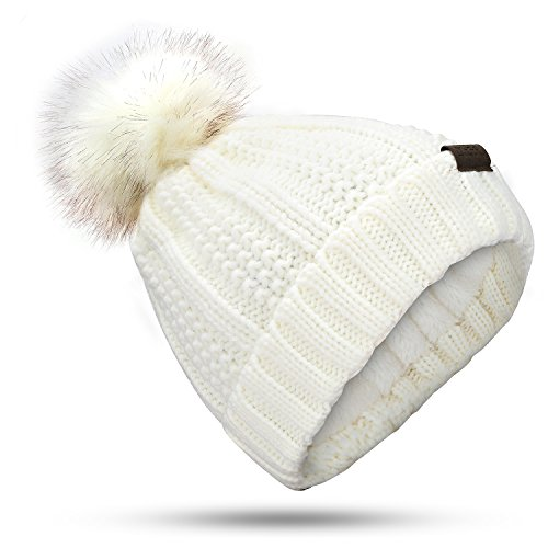 muco Womens Beanie Winter Hat Knit Chunky Faux Fur Warm Linling Pom Poms Hat Bobble Hat Ski (Fur Crocheted Hat)