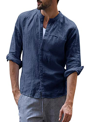 Mens Casual Linen Shirt Button Down Cotton Stand Collar Long Sleeve Curved Hem Basic Regular Fit Tops (X-Large, B-Blue)