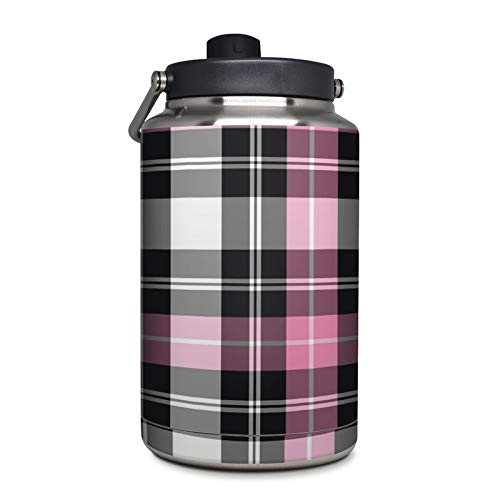 Pink Plaid Protector Skin Sticker Compatible with Yeti Rambler 1 Gallon Jug - Ultra Thin Protective Vinyl Decal Wrap Cover