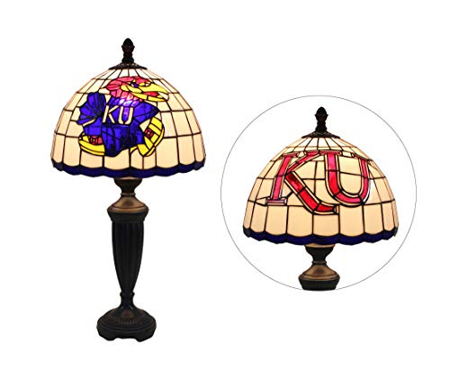 Yogoart 12-inch Wide NCAA Kansas Jayhawks Stained Glass Table Lamp 24.8-inch Total Height