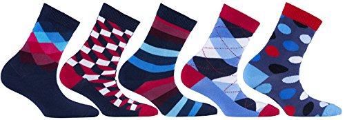 Socks n Socks-Boy's 5-pair Luxury Fun Cool Cotton Colorful Mix Socks Gift Box