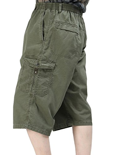 YangguTown YGT Mens Cotton Lightweight Elastic Waist Cargo Capri Shorts Mutil Pocket Pant