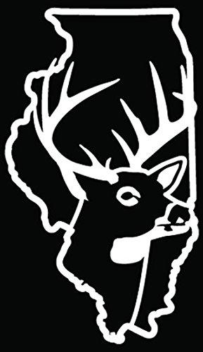Illinois State Deer Buck Hunting Car Truck Window Bumper Vinyl Graphic Decal Sticker- (6 inch) / (15 cm) Tall GLOSS WHITE - Auto Truck Illinois