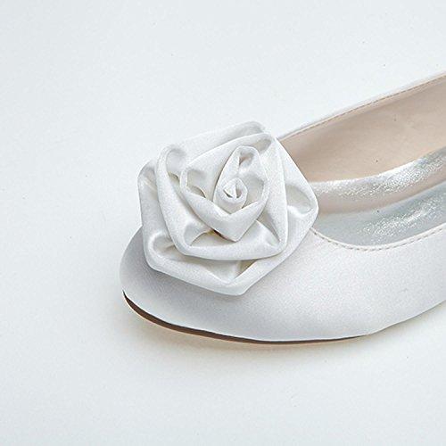 de Mujeres Heel Blanco Las Boda Boda Elobaby Toe Heels Ballet Zapatos Flower Peep Chunky Novia Planos de Comfort STUavWag