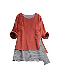 Sumen women Casual Button Plus Size Tops Splice Cotton Tee Shirt Lattice Loose