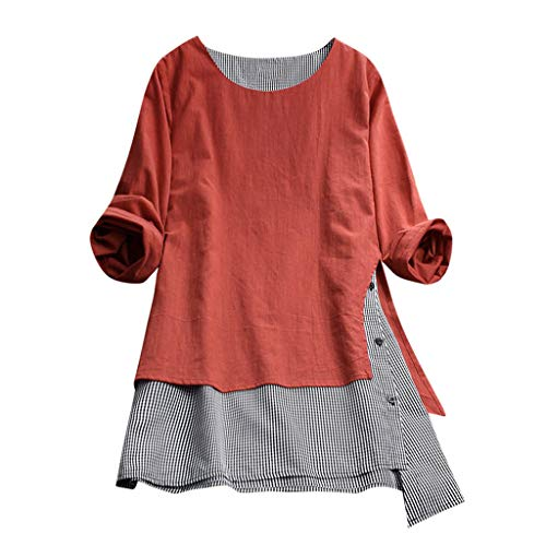 Nevera Women Casual Button Plus Size Plaid Cotton Linen Tunic Tops Tee Shirt Loose Blouse Orange ()