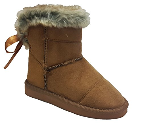 Elegant Girls Faux Suede Camel Color Ankle Flat Boots With Faux Fur Trim 2, M US Little Kid