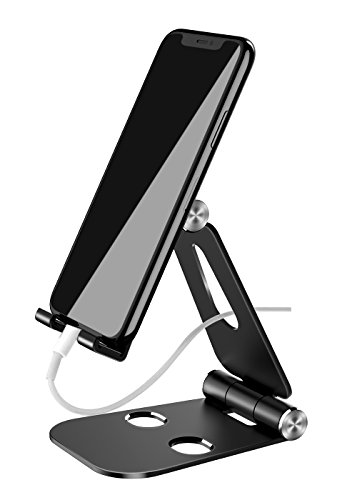 Cell Phone Stand, ELEWIUM Foldable Alloy Mount Holder with Adjustable Angles & Nonslip Anti-Scratch Silicone Pads – for iPhone Samsung & All Smartphones Tablets iPads & Gaming Consoles (Black)