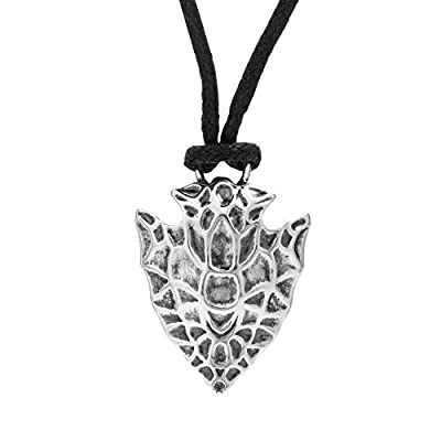 ".925 Sterling Silver Arrow Head Charm Pendant Necklace with Black Real Leather Cord (20"" or 22"")"