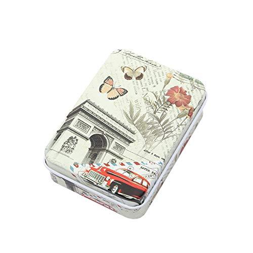 Usstore  Women Portable Jewelry Box Travel Mandatory Tinplate Cosmetic Case Organizer Storage Cartoon Printed (A, App 9X6.5 cm)