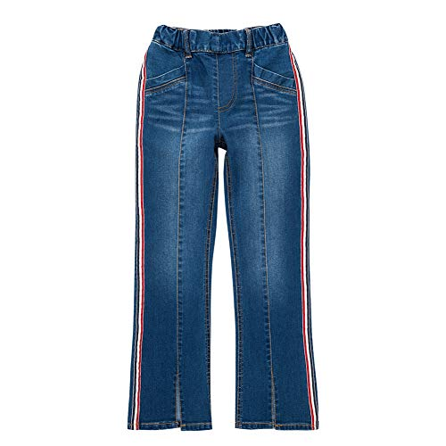 (UNACOO Girls Jeans with Stretch Straight Leg and 5 Pockets (Stripe, S(6-7T)))