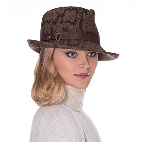 Eric Javits Luxury Fashion Designer Women's Headwear Hat - Wool Classic (Brown Pyhon) by Eric Javits