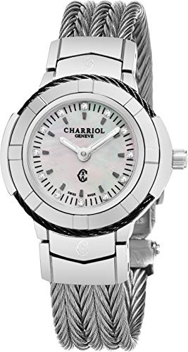 Charriol Celtic Womens Diamond Watch - 26mm Mother of Pearl Face with Luminous Hands and Sapphire Crystal - Stainless Steel Cable Band Swiss Made Quartz Ladies Watch CE426SB.640.010