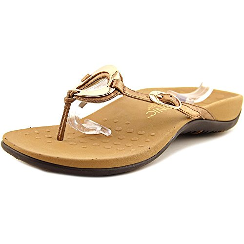 Vionic Women's Rest Karina Toe-Post Sandal - Ladies Flip- Flop with Concealed Orthotic Arch Support Bronze 10 M US