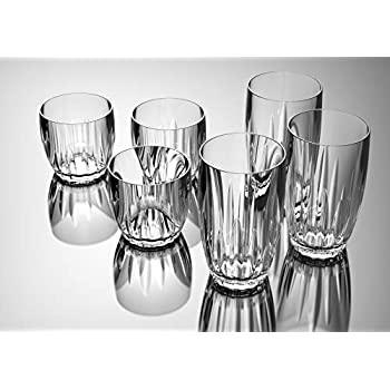 QG 15 Ounce Plastic Heavy Weight Wine Glass Rock Tumbler Set of 6 Clear CR141