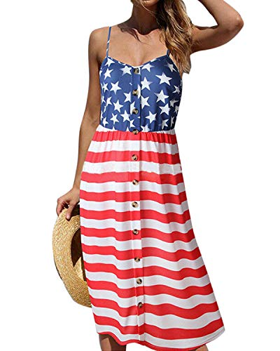 - Mongolulu Women's July 4th American Flag Printed Stars and Stripes Midi Sleeveless Tank Mini Dress S