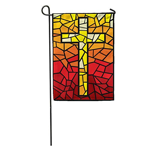 - Semtomn Garden Flag Orange Church Cross in Stained Glass Yellow Window Catholic Christian Home Yard House Decor Barnner Outdoor Stand 28x40 Inches Flag