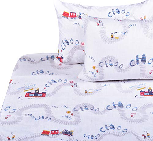 J-pinno Cute Train Travel Choo Full Sheet Set for Kids Boys,100% Cotton, Flat Sheet + Fitted Sheet + Two Pillowcase Bedding Set (Train)