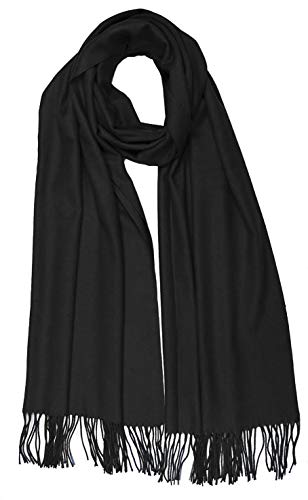 Women Solid Soft Cashmere Feel Shawl Wrap Stole,Black