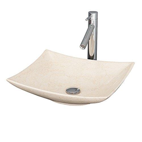 Wyndham Arista Vessel Vanity Bathroom Sink in Ivory Marble