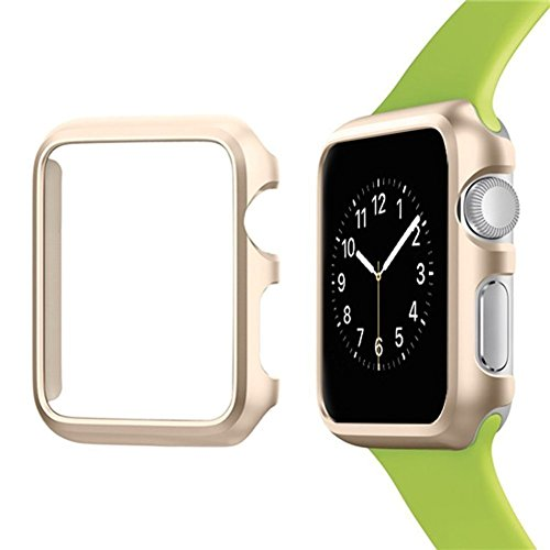 Josi Minea Apple Watch [42mm] Aluminum Protective Shell Bumper Case Cover - Premium Anti-Scratch & Shockproof Shield Guard for Apple Watch Series 3, 2 & 1 - 42mm [ Gold ]