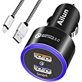 Ailun Fast Car Charger,Qualcomm Quick Charge 3.0 Adapter,with 1M Type-C Cable,Dual USB Port 35W,for Mobile Device Compatible iPhone X/Xs/XR/Xs Max,Galaxy S9 S9+,S8 S8+ Note 8 9[Black]