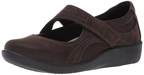Clarks Dames Sillian Bella Mary Jane Platte Donkerbruine Synthetische Nubuck