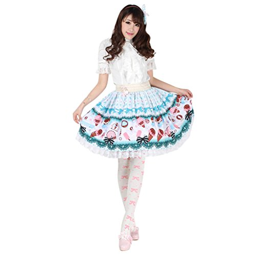 Hugme Blue Polyester Lace Ice-cream Cone Printed Lolita Skirt