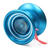 Responsive MAGICYOYO K7 Aluminum Metal Yoyo Ball for Beginners with Bag+Glove+5 Strings-Blue
