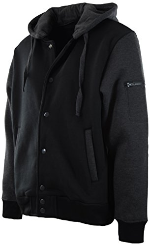 Mens Baseball Varsity Jacket With Detachable Hoodie (XL, 901-Charcoal/Black)