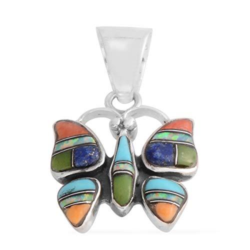- 925 Sterling Silver Lapis Lazuli Southwest Jewelry Butterfly Pendant for Women