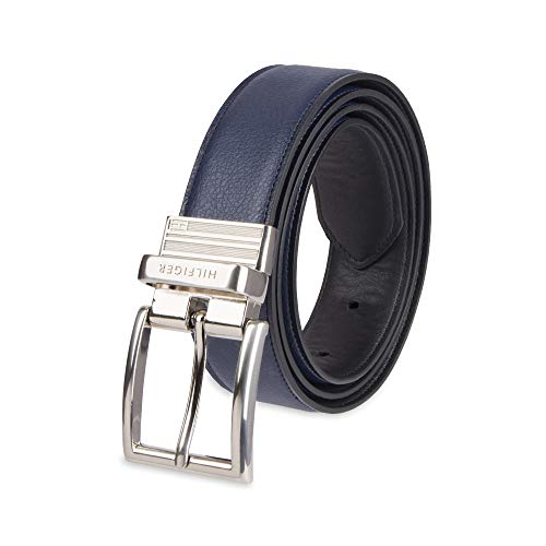 Tommy Hilfiger Reversible Leather Belt - Casual for Mens Jeans with Double Sided Strap and Silver Buckle , navy/black, 30