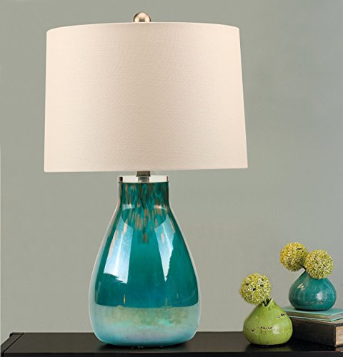 Colored Glass Table Lamp, Warmstore Green Glass Desk Lamp with Gold Hue, White Drum Shade in Linen Fabric for Home Office Hotel Decoration, Harp Construction (Colored Accent Tables)