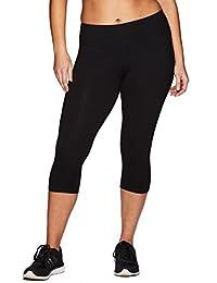 RBX Active Women's Plus Size Cotton Spandex Basic Capri Leggings