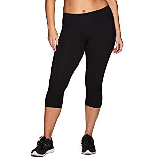 RBX Active Women's Cotton Spandex Capri Legging Black 2X