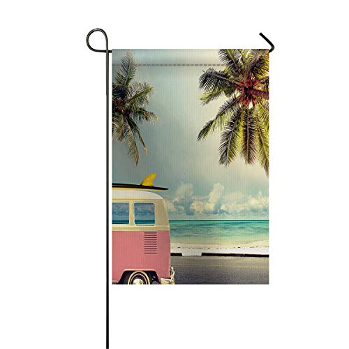 LIDU Beach Surf Garden Flags House Banner Decorative Flags Home Outdoor Valentine, Minivan Retro Vacation in Summer Sky Honeymoon Destination, Welcome Holiday Yard Flags, Double Sides 28 x 40inch