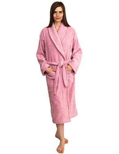 TowelSelections Women's Turkish Cotton Soft Bathrobe Terry Robe Small/Medium Blush (Cloth Shawl Terry)