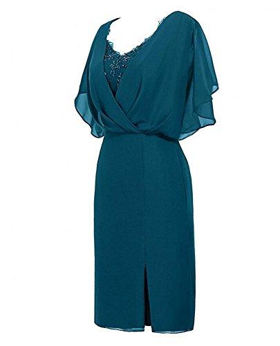 Chiffon Teal Gown Short the Botong Women's Bridal Burgundy Prom Short of Mother Dress 7TtwAqTU