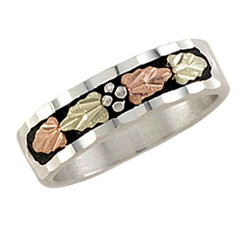 Landstroms ladies Black Hills Silver wedding band with leaves & antiquing - (Black Hills Gold Set Necklace)