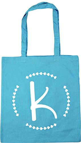 litres Surf x38cm HippoWarehouse Bag 10 Beach Shopping Gym Tote 42cm Blue Initial K 8wq8P1v