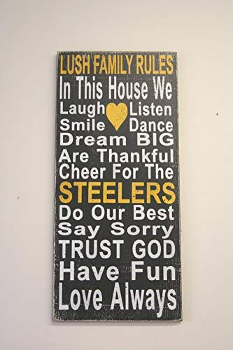 steelers distressed wood plaque sign family rules team plaque sign housewarming gift wedding gift bridal shower