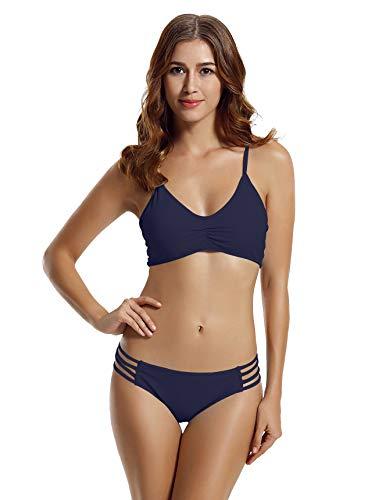 zeraca Women's Strap Side Bottom Halter Racerback Bikini Bathing Suits (FBA) (Small / 6, Blue Depths)