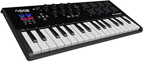 - M-Audio Axiom AIR Mini 32 | Premium 32-Key USB MIDI Keyboard & Drum Pad Controller (8 Pads / 8 Knobs), VIP Software Download Included