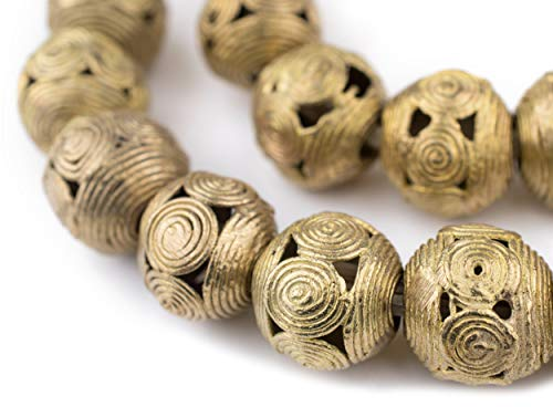 (Round Brass Filigree Beads - Full Strand of Fair Trade African Metal Beads - The Bead Chest (20mm, Cameroon))