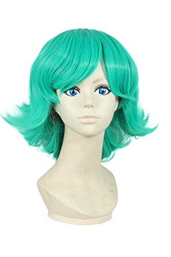 [HH Building Anime One Punch Man Tatsumaki Short Curly Hair Cosplay Party Costume Wig (Green)] (Easy Pop Culture Costumes)